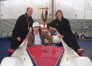 Filip, Stewart and Slim with Radical Car and Trophy